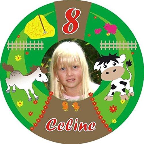 Fototorten-Aufleger rund für Geburtstagstorte zum Kindergeburtstag auf dem Bauernhof, +Vorname +Alter vom Geburtstagskind, mit Kuh, Pferd, Blumen und Küken, ideal für Ihre Bauernhofparty