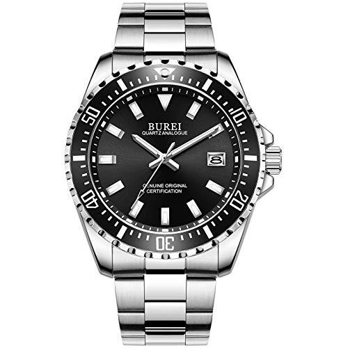 BUREI Herren Uhr Analog Quarz Heavy Armbanduhr Herren Business Mit Kalender Uhren (Silber Schwarze)
