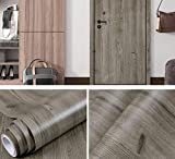 Redodeco Ash Grey Wood Grain Adhesive Paper Counter Top Vinyl Furniture Cabinets Wardrobe Shelf Liner Wallpaper Sticker Decal,12inch X 79inch