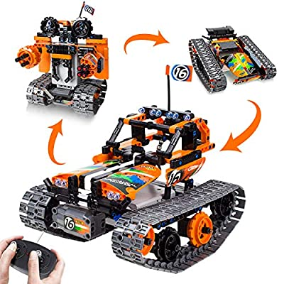 3-in-1 STEM Remote Control Building Kits-Tracked Car/Robot/Tank, 2.4Ghz Rechargeable RC Racer Toy Set Gift for 8-12,14 Year Old Boys and Girls, Best Engineering Science Learning Kit for Kids (392pcs) by morwant