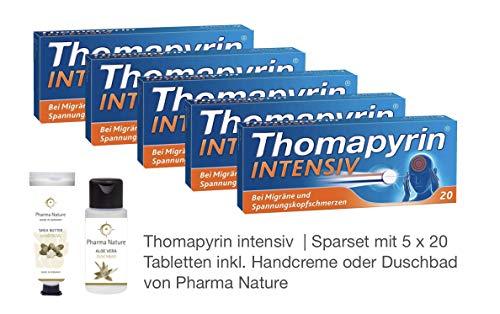 Thomapyrin intensiv | Sparset mit 5 x 20 Tabletten inkl. Handcreme oder Duschbad von Pharma Nature