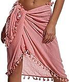 UMIPUBO Mujer Vestido de Playa Semi-Transparente Ropa de Baño Playa Vestido Suelto de Bikini Cover up Sarong de Playa Pareo Chal Falda con borlas