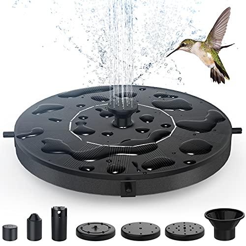Bomba de Fuente Solar, Airabc 1.4 W Bomba Solar de Flotante con 6 Boquillas, Kit de Bomba de Fuente para Tanques de Pájaros, Estanque, Piscina, Jardín