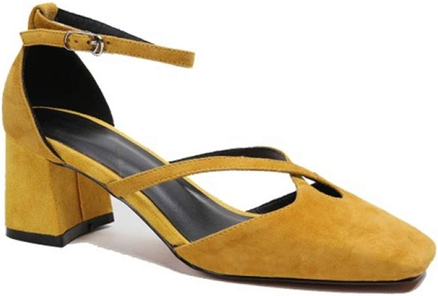 T-JULY Cross-Tied Summer Sandals Genuine Leather Elegant Casual Solid Buckle Strap Yellow Heels Square Toe Womens Sandals