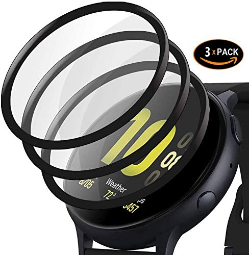 [3-pack] For Samsung Galaxy Watch Active 2 (40mm) 3D Full Coverage PET Screen Protector Super Transparent Anti-Scratch Black Edge.