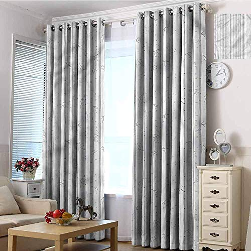 NMDD Isolierende, energiesparende, solide Stangentaschen-Verdunkelungsvorhänge für kleine Fenster, graue und weiße Vorhänge aus Birkenholz mit weichen Verdunkelungsvorhängen, 96