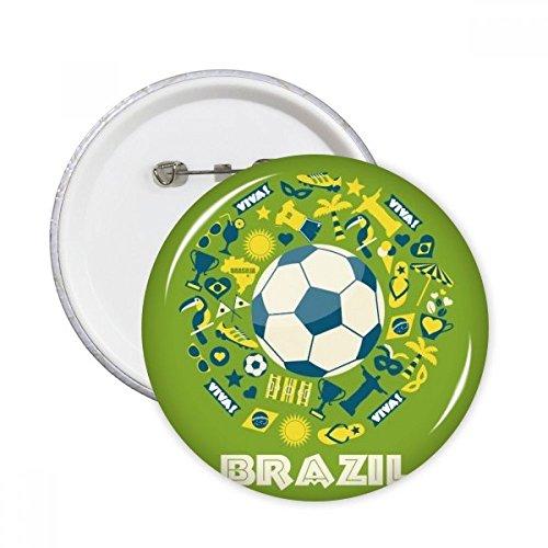 DIYthinker Soccer Jersey Trophy Viva Slogan Parrot Brazil Cultural Ele T Round Pins Badge Button Clothing Decoration Gift 5Pcs XXL Multicolor