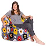 Posh Beanbags Bean Bag Chair, X-Large-48in, Canvas Multi-colored Flowers on Gray