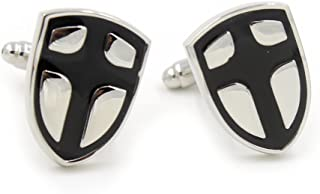Crusaders Templar Knights Shield Cross Silver Suit Shirt Cufflinks