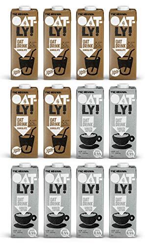 OATLY Barista Edition Oat Milk & Chocolate Oat Milk Bundle - 1 Litre (Pack of 12)