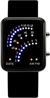 Men's and Women's Led Electronic Watch,30m Waterproof Depth Silicone Strap Calendar Month Led Watch Couple Table Retro Student-A