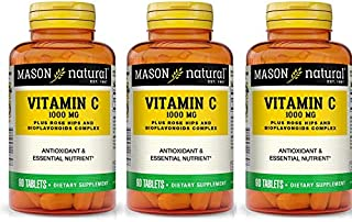 Mason Vitamins C 1000 mg Tablets Rose Hips/Lemon Bioflavonoids - 90ct, Pack of 3