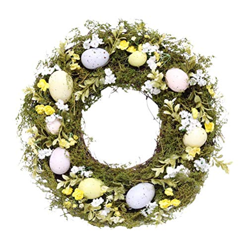 LIANGZHI Easter Egg Simulation Wreath Artificial Flower Wreath Yellow & White Flower Door Wreath with Green Grass Wildflowers Spring and Summer Wreath for Front Door Wall Window Decor-36cm
