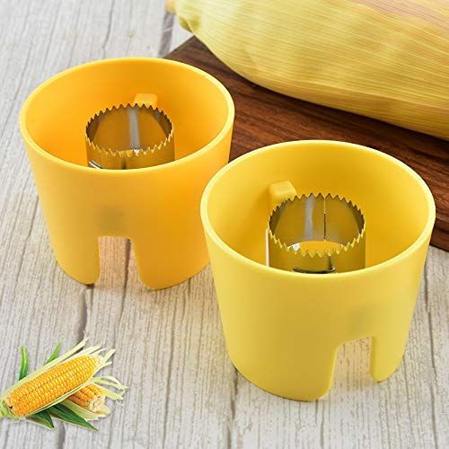 2 Pcs Corn Stripper, Corn Peeler for Kitchen Tools, Corn Cob Stripper Tool for Large and Small Suits, Easy and Fast with Fingers Safe, Easy to Clean with Non-Slip Grip
