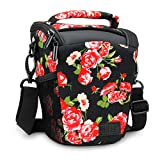 USA Gear SLR Camera Case Bag (Floral) with Top Loading Accessibility, Adjustable Shoulder Sling, Padded Handle, Weather Resistant Bottom - Comfortable, Durable and Light Weight for Travel