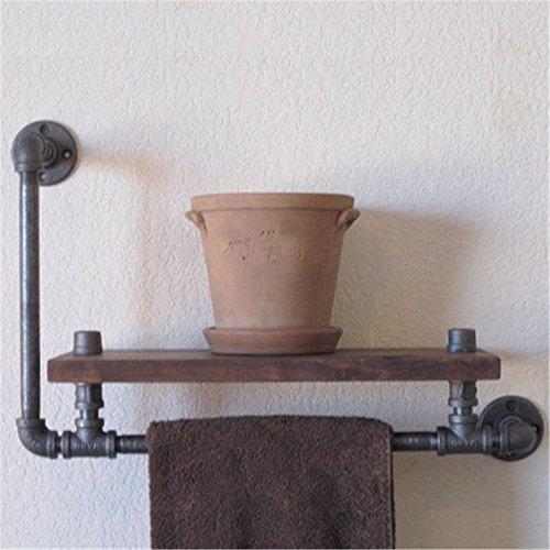 MBYW moderne handdoek rek handdoekenrek Europese antieke industriële waterleiding smeedijzeren houten plank plank display stand bloem vitrine vitrine kast plank muur gemonteerd handdoek rek (60*20*30cm)