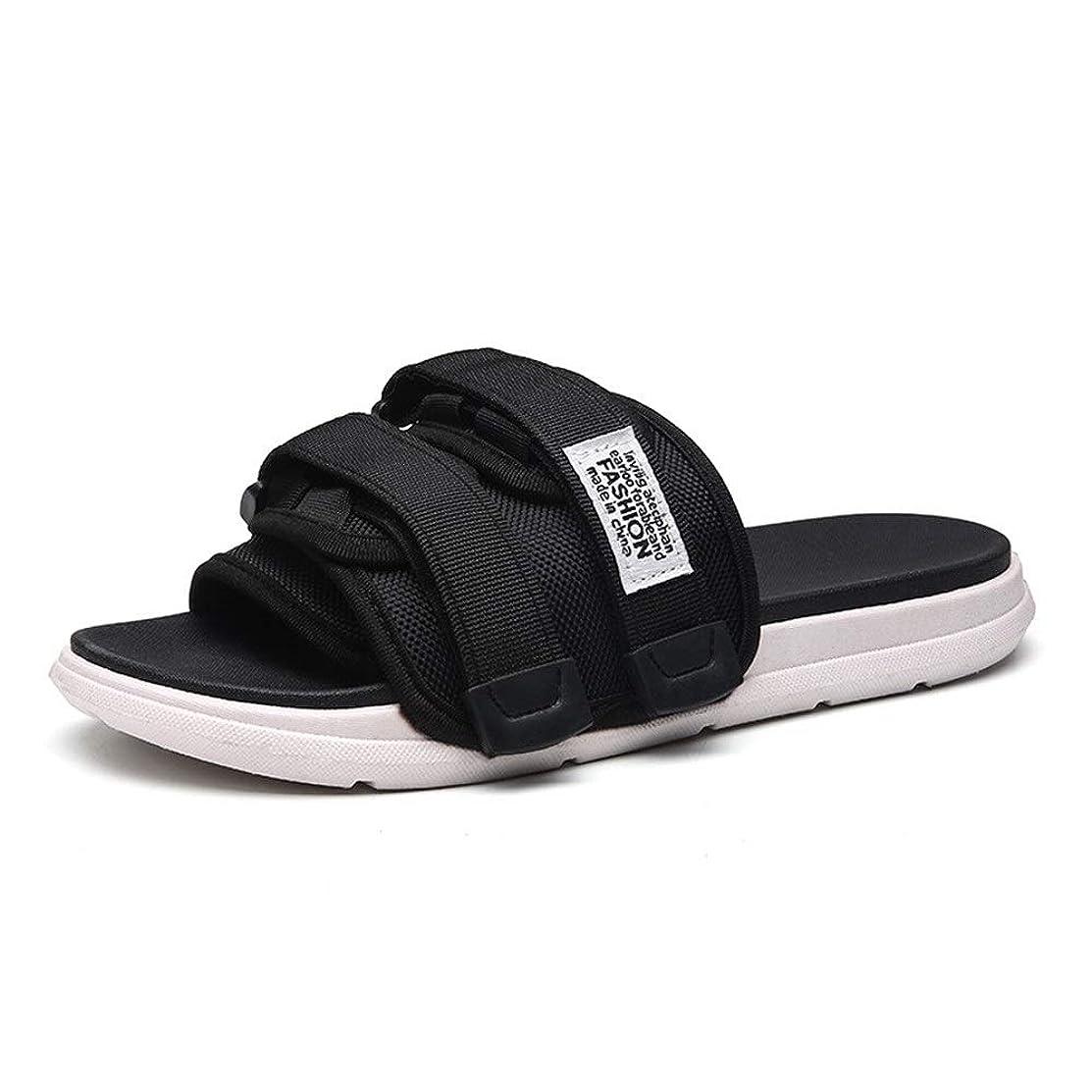 批判的ご意見ギャザー滑り止め 靴 アウトドア 夏メンズビーチスリッパは滑り止め屋内Wordのスリッパホームサンダルを向上しました サンダル メンズ 本革 (Color : Black, Size : 44)