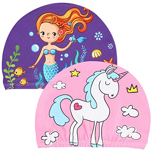 2 gorros de natación infantiles-gorros de natación con motivos de sirena unicornio para niños y niñas-tela impermeable para gorros de natación-para la playa o piscina