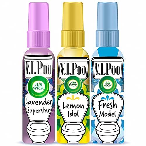 Air Wick VIPoo Spray ambientador para el WC, antes de ir al baño, aroma Frutas del Bosque + Limón + Lavanda - 3 Unidades, hasta 300 usos