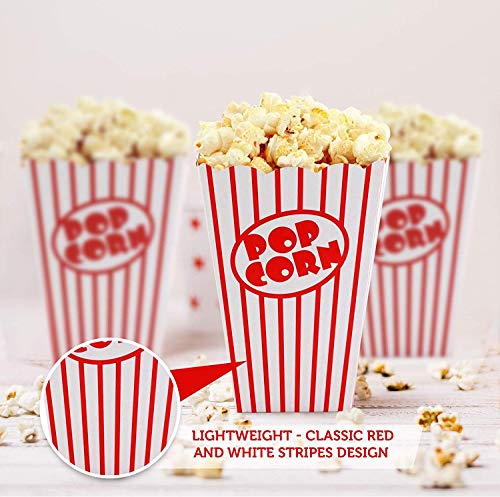 SHATCHI papel palomitas de maíz de cartón, temáticas de cumpleaños, noches de cine, carnaval, fiestas, cajas de comida, color rayas rojas y blancas. (Gifts 4 All Occasions Ltd 11691)