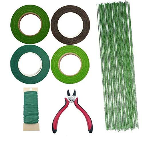 Woohome 7 Stück Blumen-Arrangement Tool Kit, Flora Kreppband, 26 Gauge Grün Zoll Blumenstamm Draht, 22 Gauge Grün Floral Wire für Strauß Stem Wrap Florist
