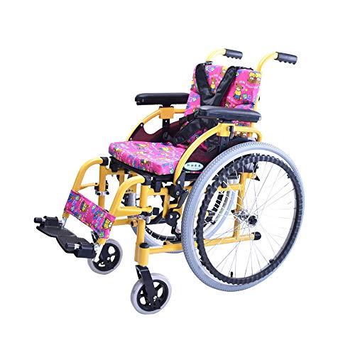 MinMin Kinder-Rollstuhl, der tragbare kleine tragbare behinderte Trolleys-Roller-Kinderhandrollstuhl faltet - 100 Kilogramm Last Medizinische Ausrüstung
