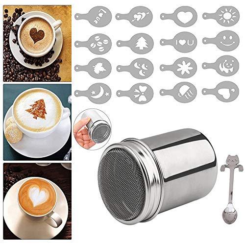 Panlom® Inox Shaker chocolat Glaçage au cacao café sucre sel-Tamis à farine + 16 x pochoirs à café Cappuccino
