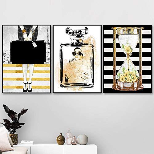 DCLZYF Moda Perfume Reloj de Arena Arte de la Pared Impresión en Lienzo Pintura Carteles e Impresiones Imágenes de Pared para la decoración del hogar de la Sala de estar-50x70cmx3 (sin Marco)