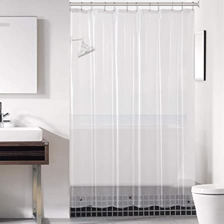 Amazon Com Downluxe Clear Shower Curtain Liner 72x72 Peva 3 Gauge Light Weight Waterproof Odorless With Rust Resistant Grommets Holes Home Kitchen