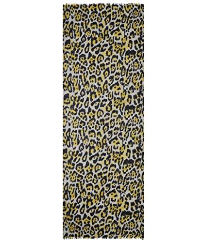 Ahujasons Damen Cashmere Mischung Leopard Print Schal Gelb Ein Größe