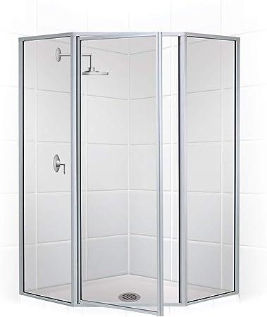 Coastal Shower Doors Nl15241566n C Legend Series Framed Neo Angle Swing Shower Door In Clear Glass 54 X 66 Brushed Nickel Amazon Com