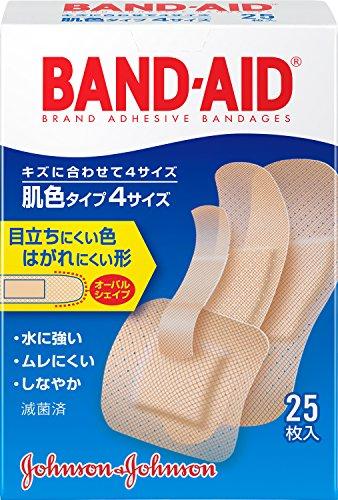 BAND-AID(バンドエイド) 救急絆創膏 肌色タイプ<4サイズ> 25枚 (S9枚,W2枚,P2枚,Jr12枚)