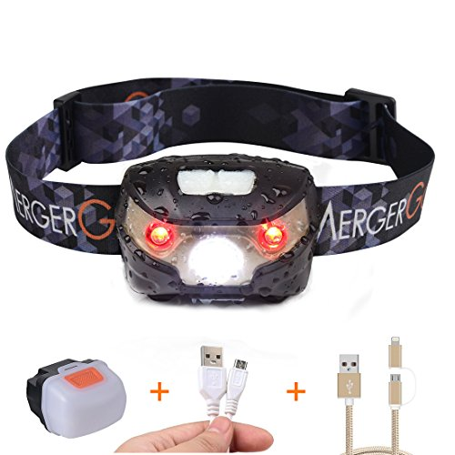 USB Rechargeable LED Headlamp with Magnetic Shell,Ultra Lightweight Comfortable Super Bright Waterproof,Perfect for Running, Camping, Hiking,Fishing,Bicycling (Black with Magnetic Shell)