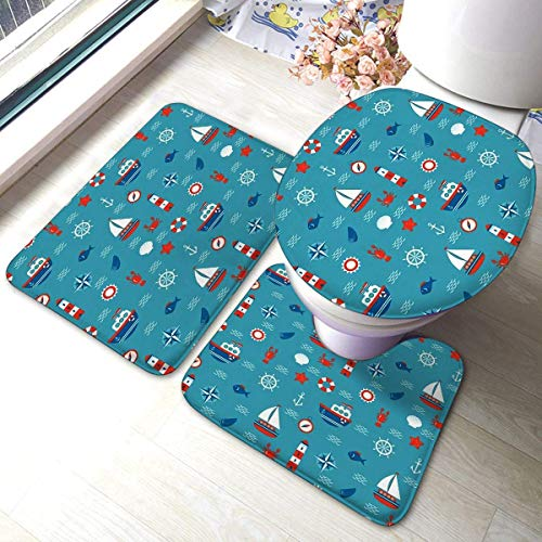 Ouzhou21 Badezimmermatten-Sets 3-teiliges Set Nauticals Marine Concept Memory Foam-Matten-Set, passend zum rutschfesten, saugfähigen Toilettendeckel-Badmatten-Deckel