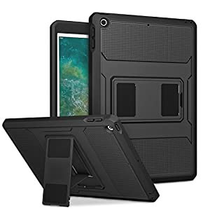 MoKo Case Fit 2018/2017 iPad 9.7 6th/5th Generation – [Heavy Duty] Shockproof Full Body Rugged Hybrid Cover with Built-in Screen Protector Compatible with Apple iPad 9.7 Inch 2018/2017, Black