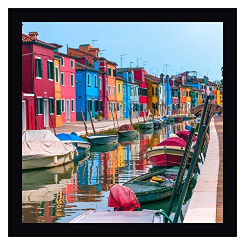 "Multi-Coloured Houses Next to a Canal, Burano, Italy by Assaf Frank 20"" x 20"" Black Framed Canvas Giclee Art Print - Ready to Hang"