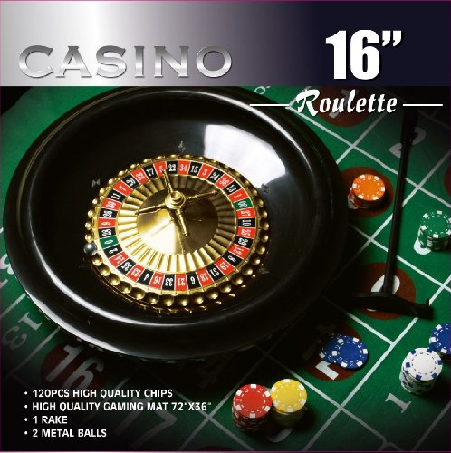 DA VINCI 16-Inch Roulette Wheel Game Set with 120 11.5-Gram Chips, Full Size 3'x6' Felt Layout, and Rake