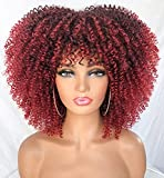 RunM Short Curly Afro Wig With Bangs for Black Women Kinky Curly Hair Wig Afro Synthetic Heat Resistant Full Wigs(Ombre Red)