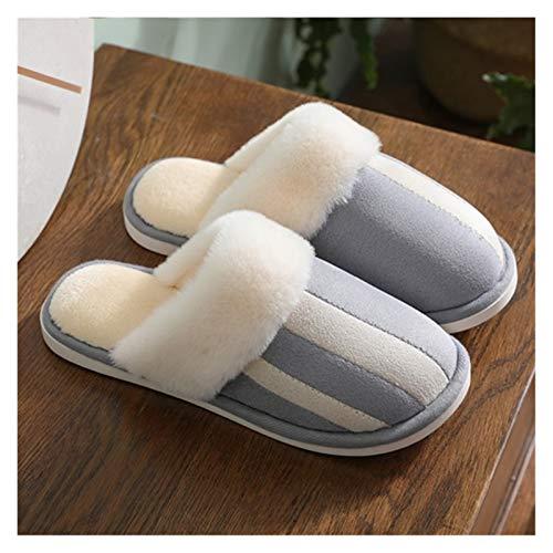 XINSHENG Store Zapatillas de Piel de Las Mujeres de Invierno Casa Zapatos Plush Caliente Mujer Zapatillas for Plana Cubierta con tamaño 4,5-12 Home Goods intimidad (Color : Gris, Shoe Size : 12)