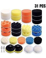 ZoneYan 31 stuks polijstsponzen voor de auto, polijstmachine, polijst-set voor boormachine, wol-polijstset, auto polijstschijf kit, 3 inch (7,62 cm) polijstsponzen set voor polijstmachine M10 booradapter