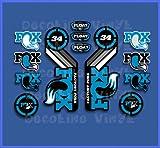 Ecoshirt, GC-A9SJ-XM8S, Pegatinas Fox Float 34 2015 Heritage DP1088 Stickers Aufkleber Decals Autocollants Adesivi, Azul