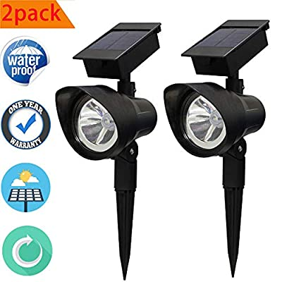 Solar spotlights Outdoor, 2 Pack Waterproof Adjustable Outdoor Led Spot Lights, Solar Landscaping Light, Auto On/Off for Yard, Pathway, Walkway, Garden, Driveway Pack of 2, Natural White