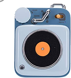 MINGTAI Radio Atomic Recorder Portable Retro Bluetooth Speaker Smart Voice Call Audio Desert Yellow (Color : Blue)