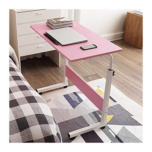 RKRXDH Home Office Desks, Solid-Top Height Adjustable Wooden Mobile Laptop Desk Cart With Pulley overbed table (Color : Pink, Size : 80x50cm)