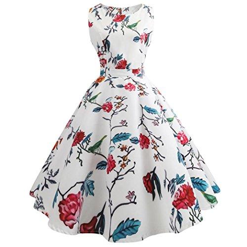 Beikoard Robe Femme, Summer Womens Dresses élégante Robe rétro Hepburn Robe sans Manches Mini Ronde (L, Blanc)