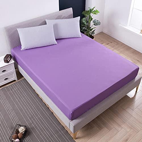 DSman Funda de colchón Anti chinches, Transpirable, Sábana Impermeable a Prueba de orina Pure Color-Purple_180cmX200cmX30cm