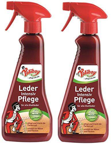 Poliboy - Leder Intensiv Pflege - Sprühmatic Flasche - reinigt, pflegt und schützt alle Glattleder - Imprägnierer - 2er Pack - 2x375ml (750ml) - Made in Germany