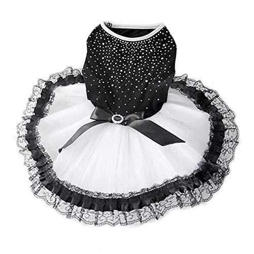 WENGE Glitter Boog Kant Hond Prinses Tutu Jurk Bubble Rok Huisdier Kleding Puppy Kostuum hond kleding, XL, Zwart