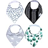 """Baby Bandana Drool Bibs for Drooling and Teething 4 Pack Gift Set For Boys """"Woodland Set"""" by Copper Pearl"""
