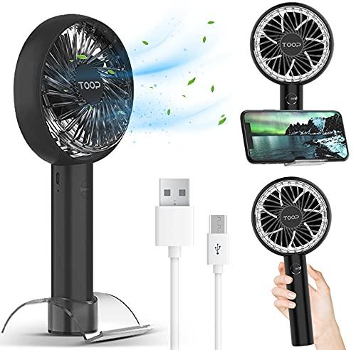 TOOP Mini ventilador de mano portátil con batería de 2000 mAh, adecuado para viajes de oficina en casa al aire libre, mango con marco de apoyo, color negro